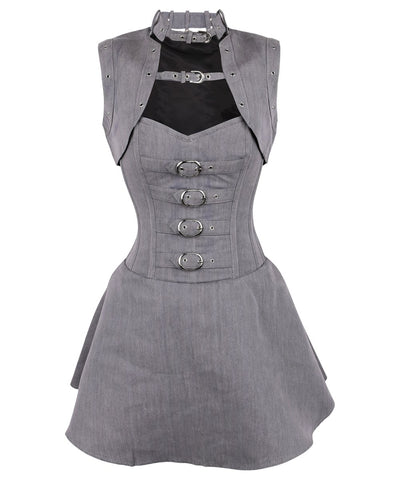Vintage Goth Cales Herringbone Overbust Corset Dress with Shrug