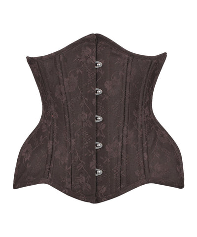 Vintage Goth Adonia Curvy Brown Brocade Waist Training Corset - VG LONDON LTD Corsets and Bustiers Shop