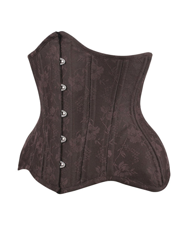 Adonia Curvy Brown Brocade Waist Training Corset
