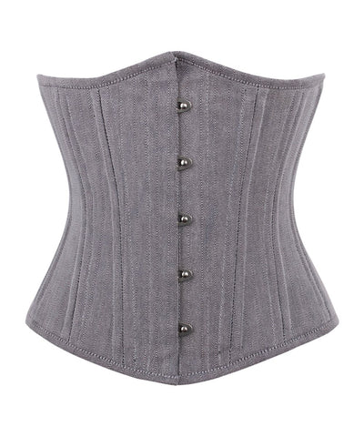 Vintage Goth Belia Herringbone Waist Training Underbust Corset - VG LONDON LTD Corsets and Bustiers Shop