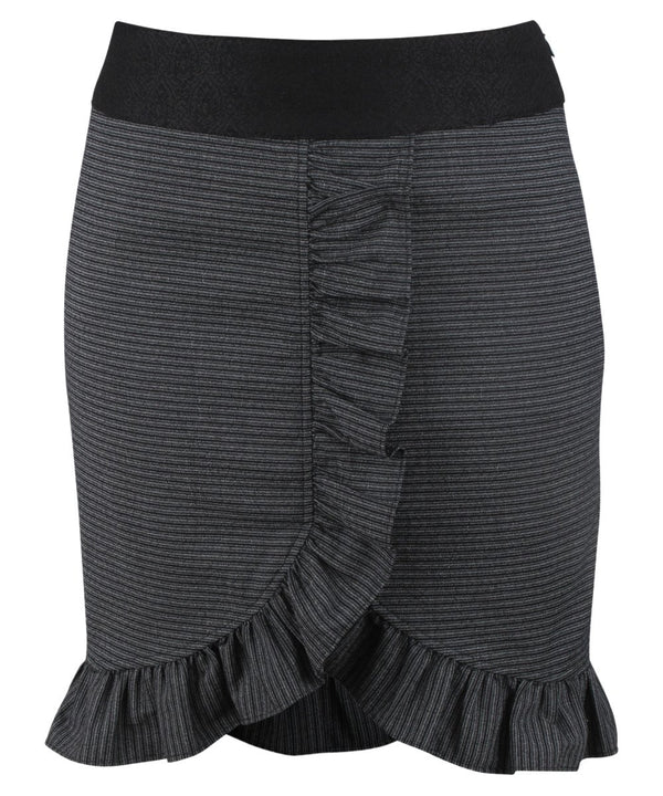 Cavana Black Cotton Striped Skirt