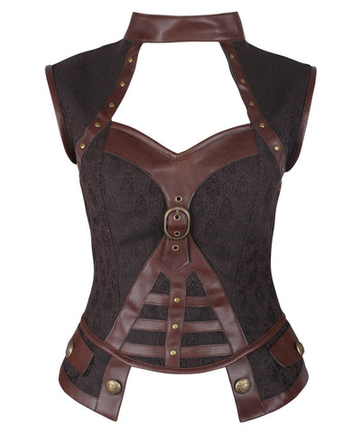 Vintage Goth Genna Steampunk Brown Corset Top with Halter Neck - VG LONDON LTD Corsets and Bustiers Shop
