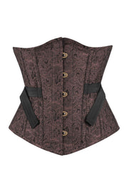 Damara Underbust Brown Brocade Corset with Fan Lacing