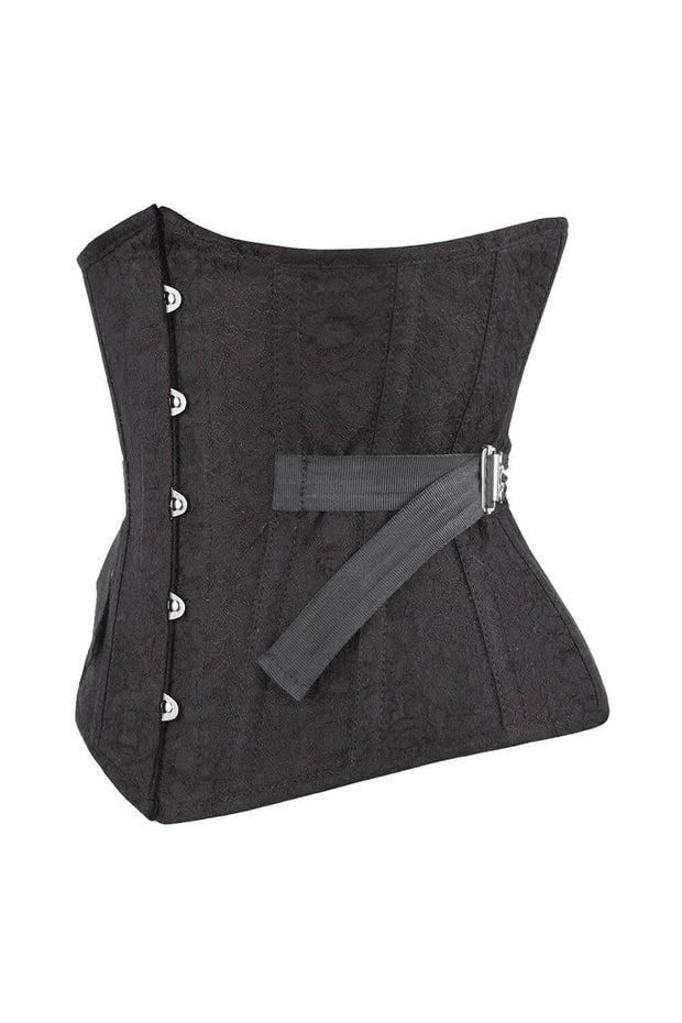 Bergitte Underbust Black Brocade Corset with Fan Lacing
