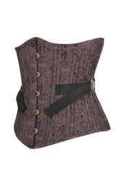 Genny Brown Brocade Waist Training Corset with Fan Lacing