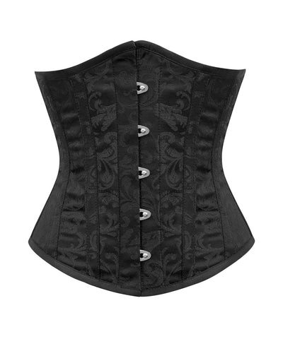 Damario Black Brocade Underbust Corset for Waist Training & Posture Correction