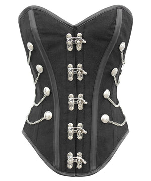 Instant Shape Black Brocade Steampunk Corset with Side Chains
