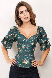 Grazia Floral Overbust Summer Corset with Attached Sleeve