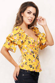 Cadis Floral Print Summer Corset with Attached Sleeve