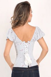 Giulia Steel Boned Cherry Print Summer Corset