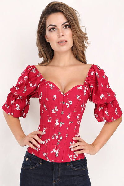 Paisleigh Printed Overbust Summer Corset with Attached Sleeve