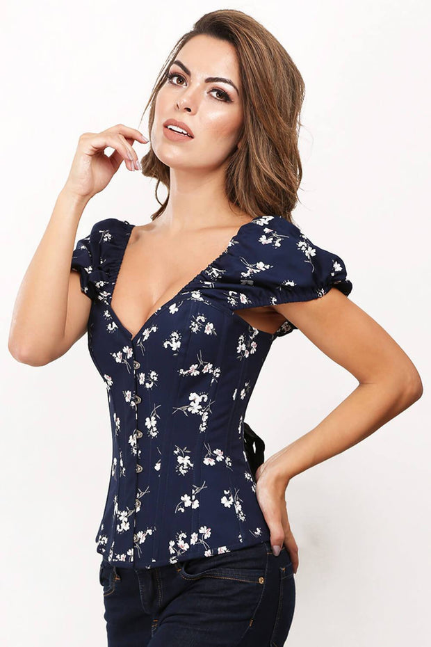 Adrienne Custom Made Floral Print Summer Corset with Short Sleeve
