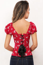 Aubriella Overbust Floral Summer Corset with Short Sleeve