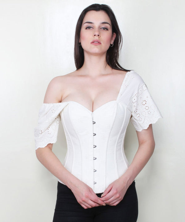 Izabelle Embroidered Cotton Summer Corset with Short Sleeve