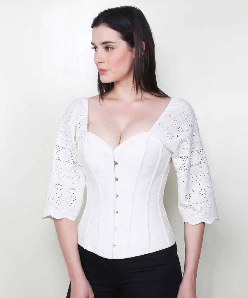Yana Embroidered Cotton Corset with Sleeve