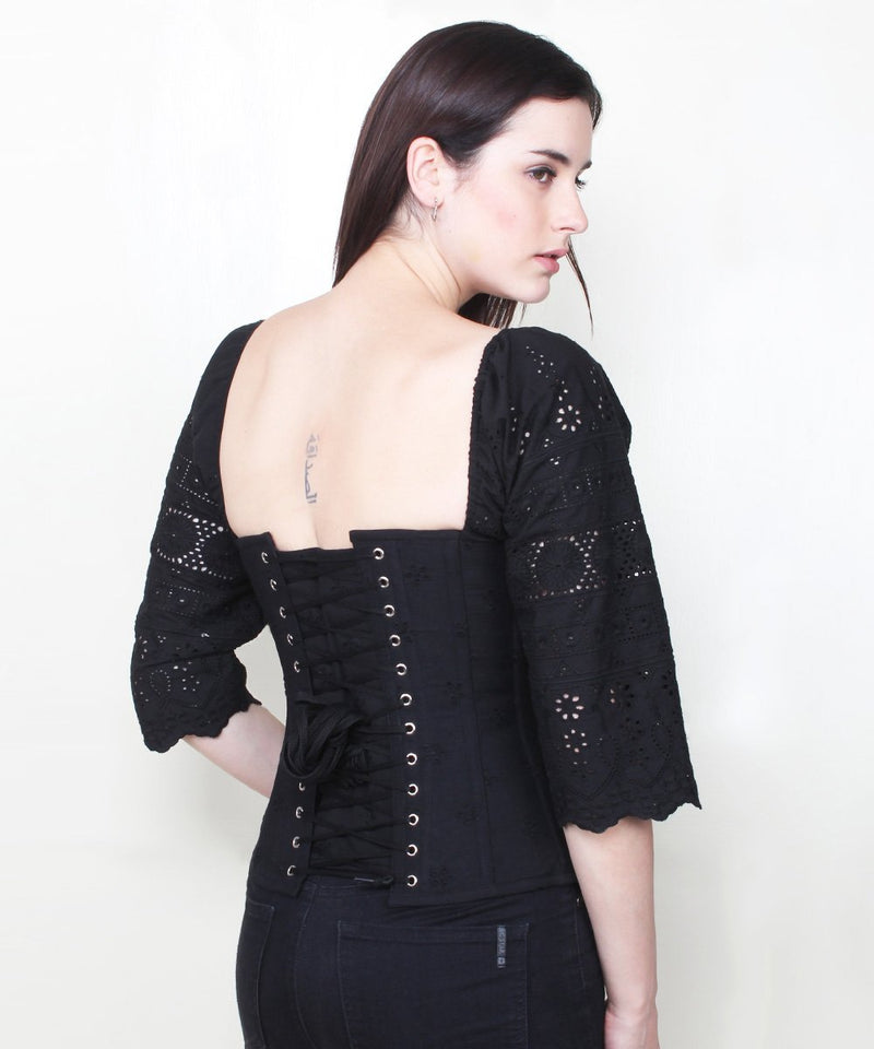 Carson Embroidered Cotton Black Corset with Sleeve