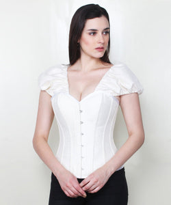 Maisyn Brocade Overbust Corset with Short Sleeve