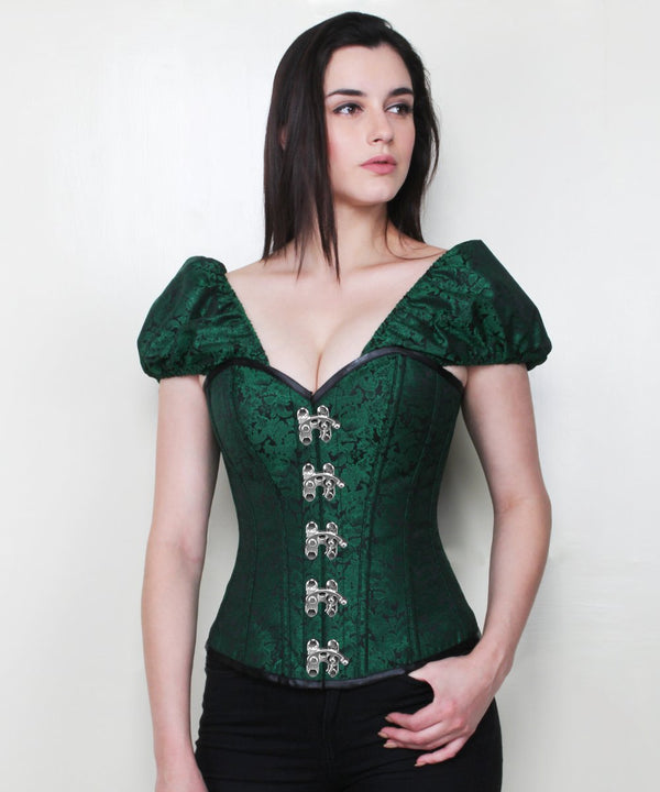 Jia Gothic Brocade Corset with Clasp Opening
