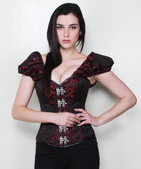 Rosalee Brocade Gothic Corset with Clasp Opening