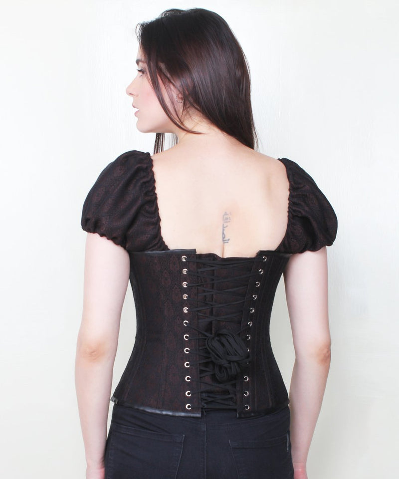 Sylvie Brocade Steampunk Corset with Clasp Opening