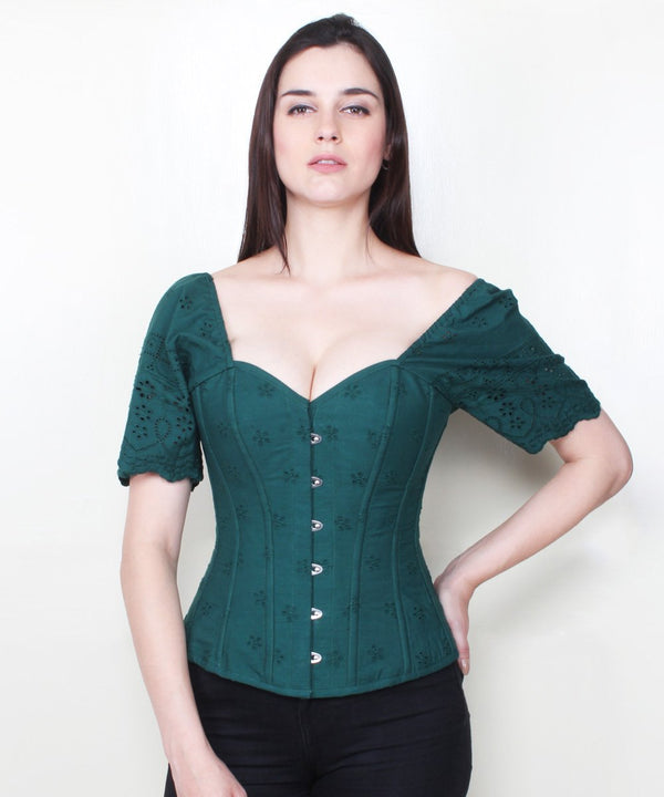 Yuna Overbust Summer Corset in Embroidered Cotton