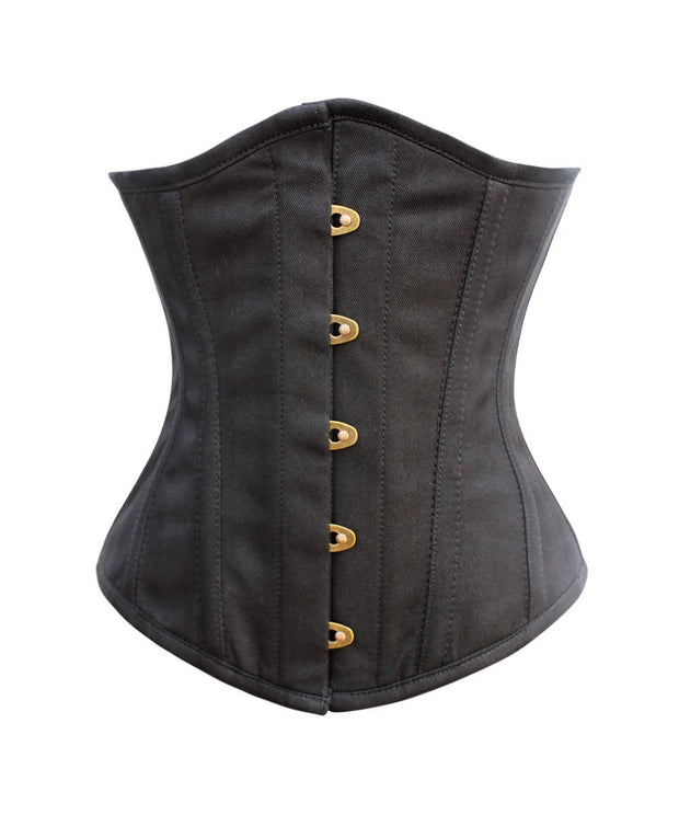 SOLD OUT - Colombine Black Herringbone Underbust Corset