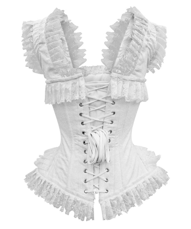Doe White Brocade Victorian Inspired Overbust Corset