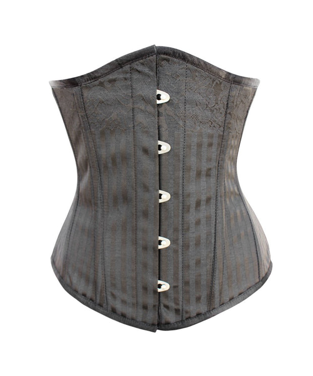 Quenby Cotton Lined Black Brocade Corset