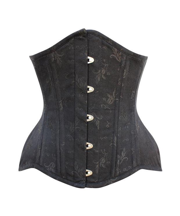 SOLD OUT - Curvy Waist Training Black Brocade Corset