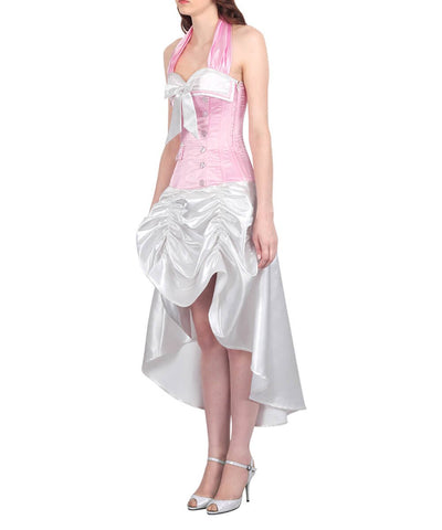 Katlin Pink and White Halter Neck Corset Dress