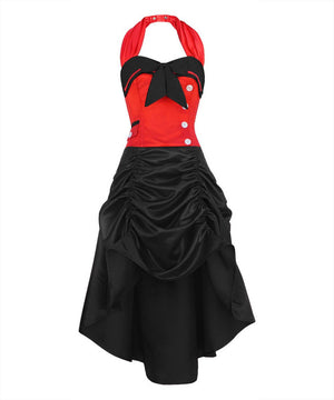 Ailne Red and Black Overbust Corset Dress