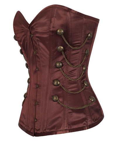 Nita Steel Boned Overbust Brown Corset with Chains