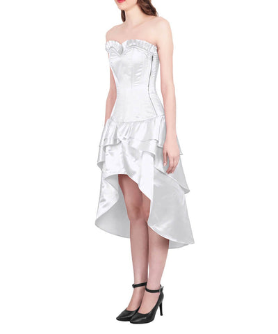 Frigga Burlesque White Mullet Corset Dress