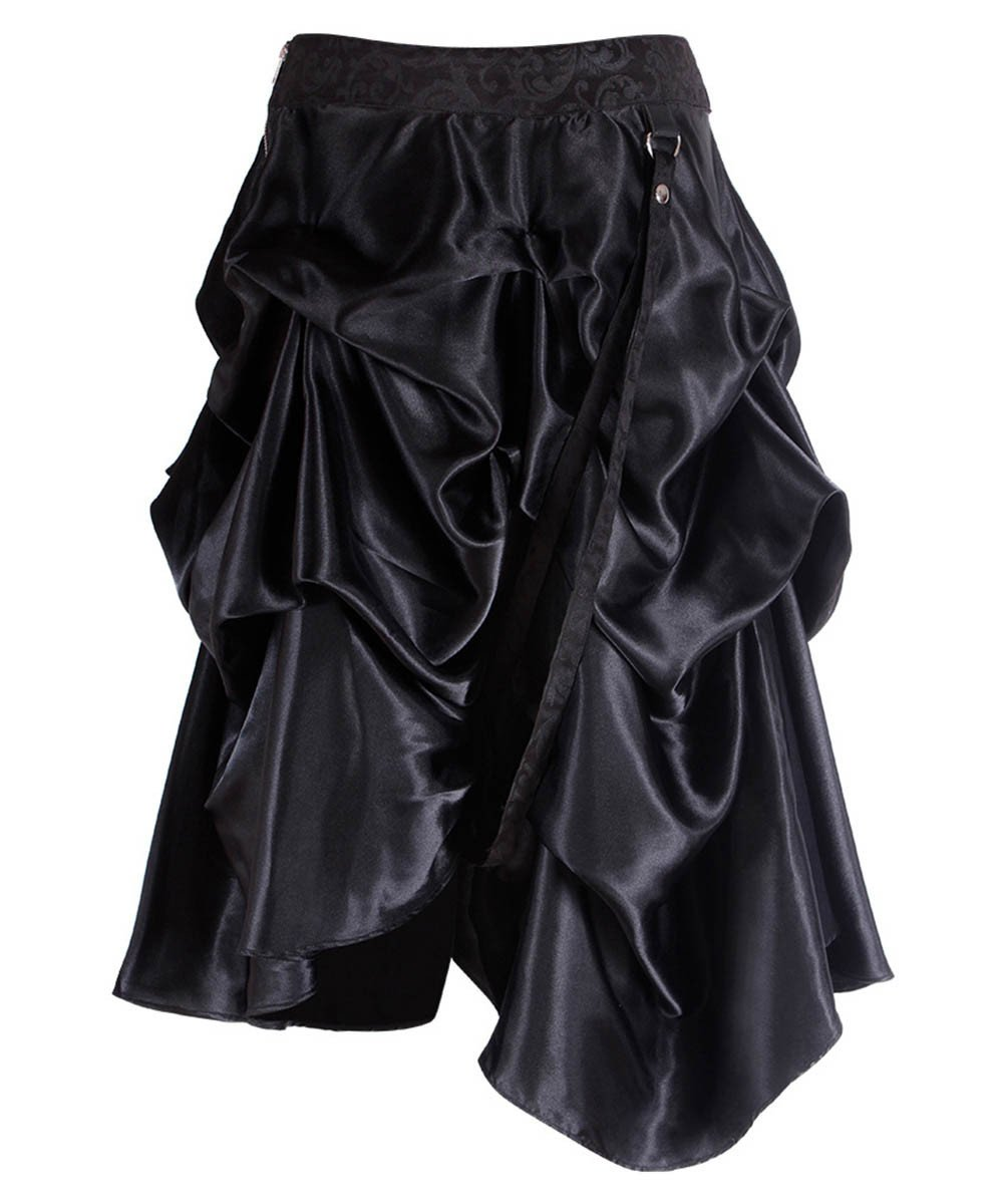 Joyce Black Gothic Skirt with Ruched