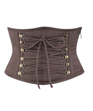Damaris Steampunk Brown Cotton Underbust Corset