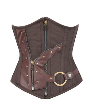 Casee Brown Waist Shaper Underbust Corset in 100% Cotton