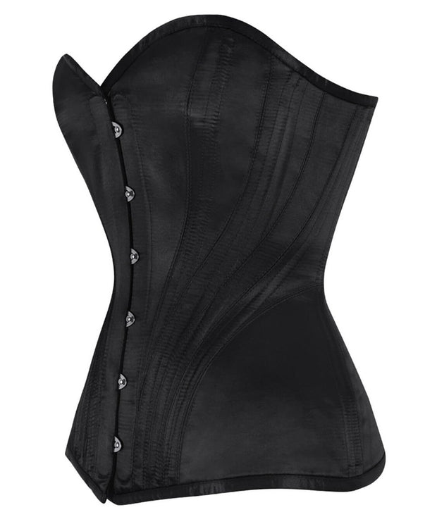 SOLD OUT - Black Satin Overbust Corset