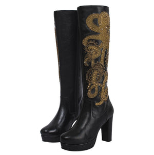 Florus Steampunk Genuine Sheep Napa Leather Long Boot