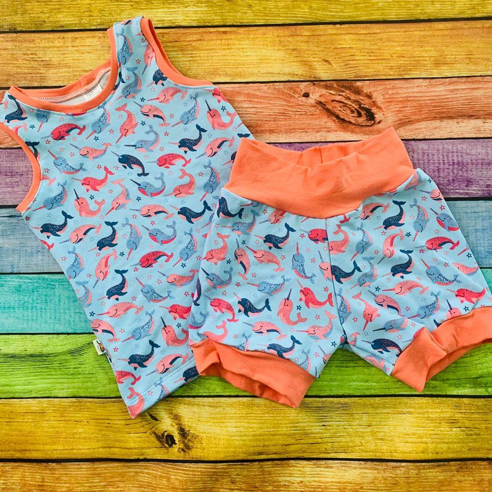 Tank/Cuff Shorts Set, Narwhals French Terry, Multiple Sizes Available