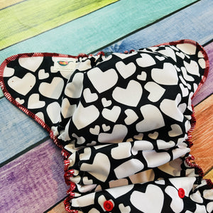 Open image in slideshow, Pocket Diaper, Red and Black Hearts PUL