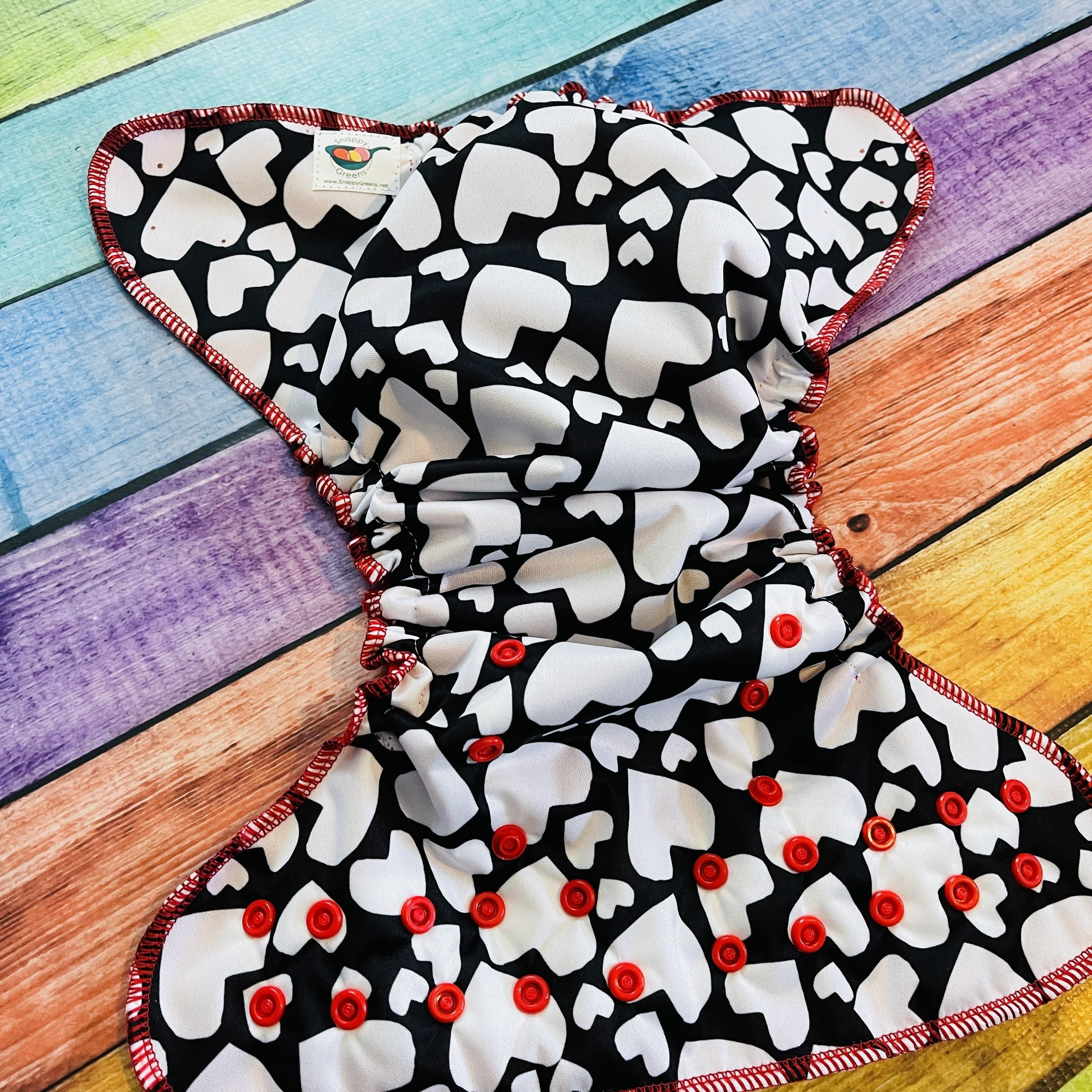 Pocket Diaper, Red and Black Hearts PUL