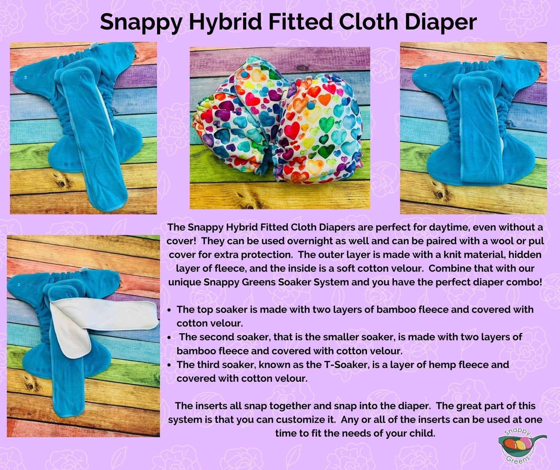 Hybrid Fitted Cloth Diaper -  Rainbow Swirls CL