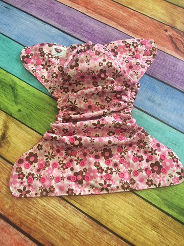 Pink Flowers PUL Pocket Diaper