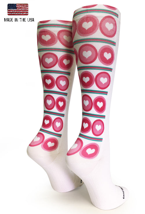White OTC Dots & Hearts - CrazyCompression.com
