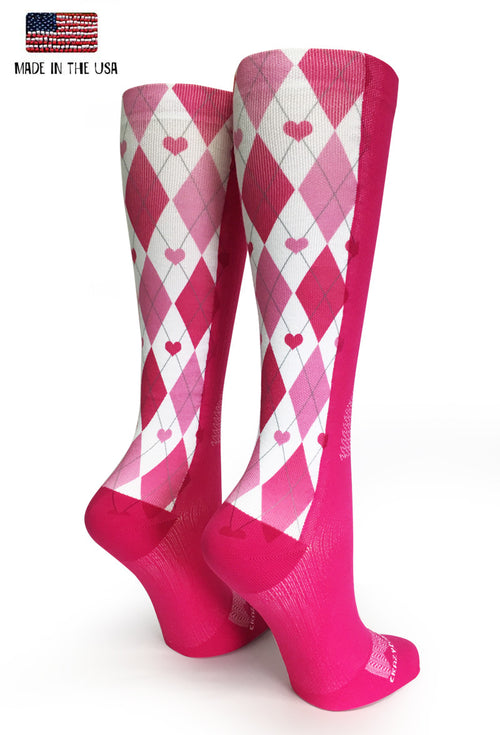 Pink OTC Argyle Love - CrazyCompression.com