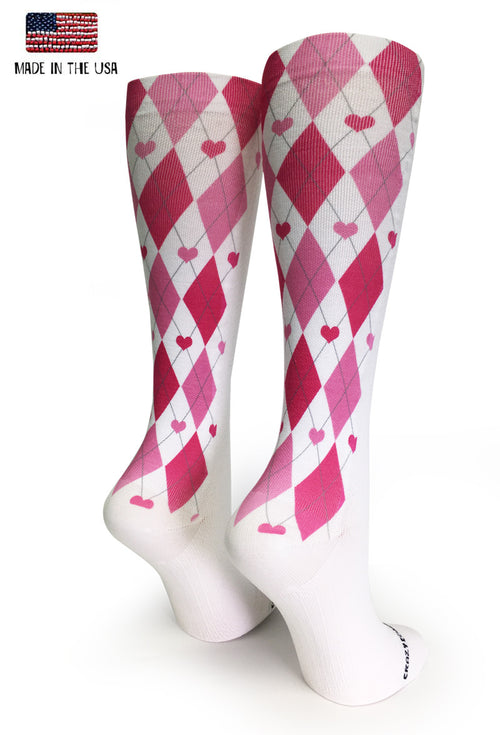 White OTC Argyle Hearts - CrazyCompression.com