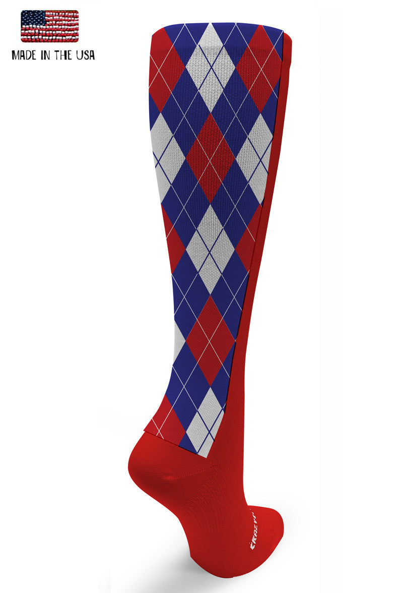 Red OTC Blue & Red Argyle - CrazyCompression.com
