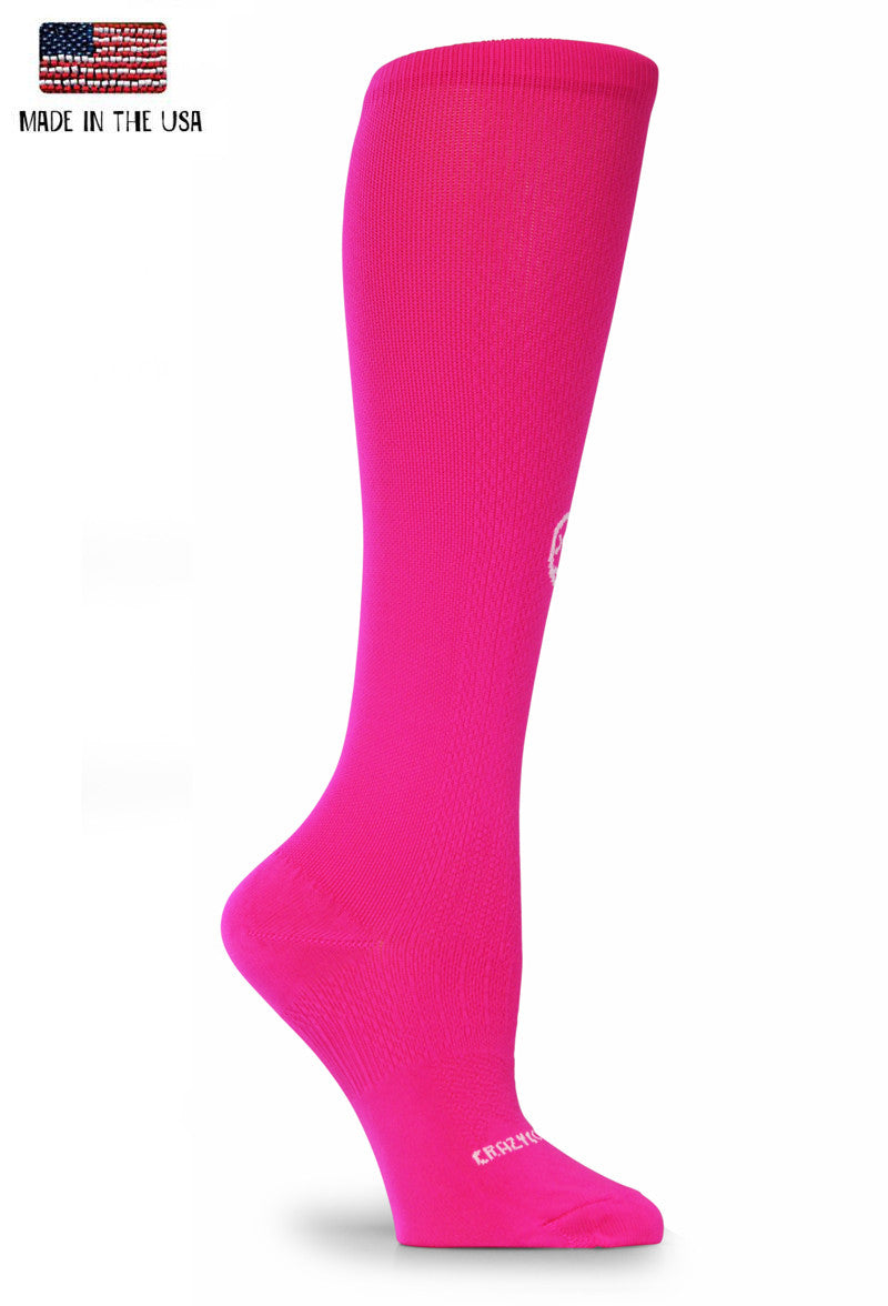 Bright Pink OTC Solid Compression Socks - CrazyCompression.com