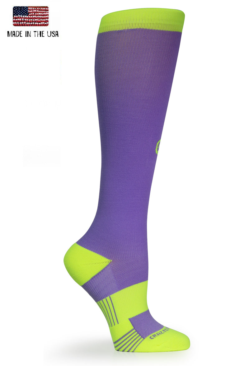 "Crazy w/ Cushion ""Lilac & Hi-Viz Yellow"" - CrazyCompression.com"