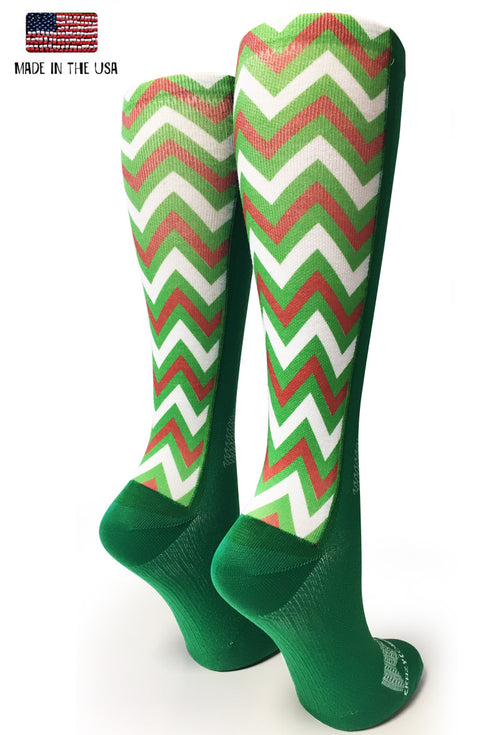Green Holiday Chevron - CrazyCompression.com